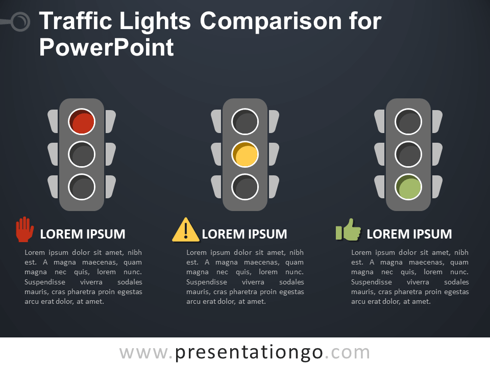Free Traffic Lights Comparison for PowerPoint - Dark Background