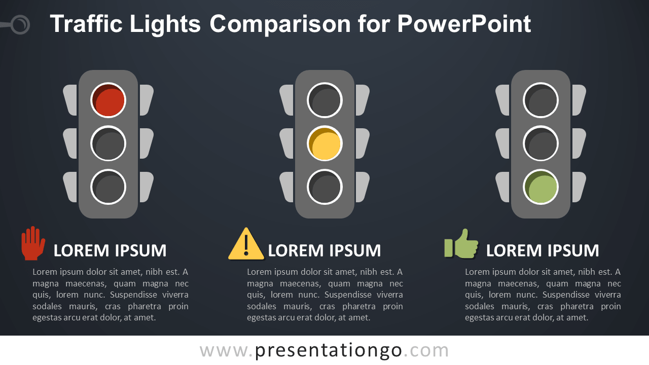 Free Traffic Lights (Red, Yellow, Green) for PowerPoint - Dark Background