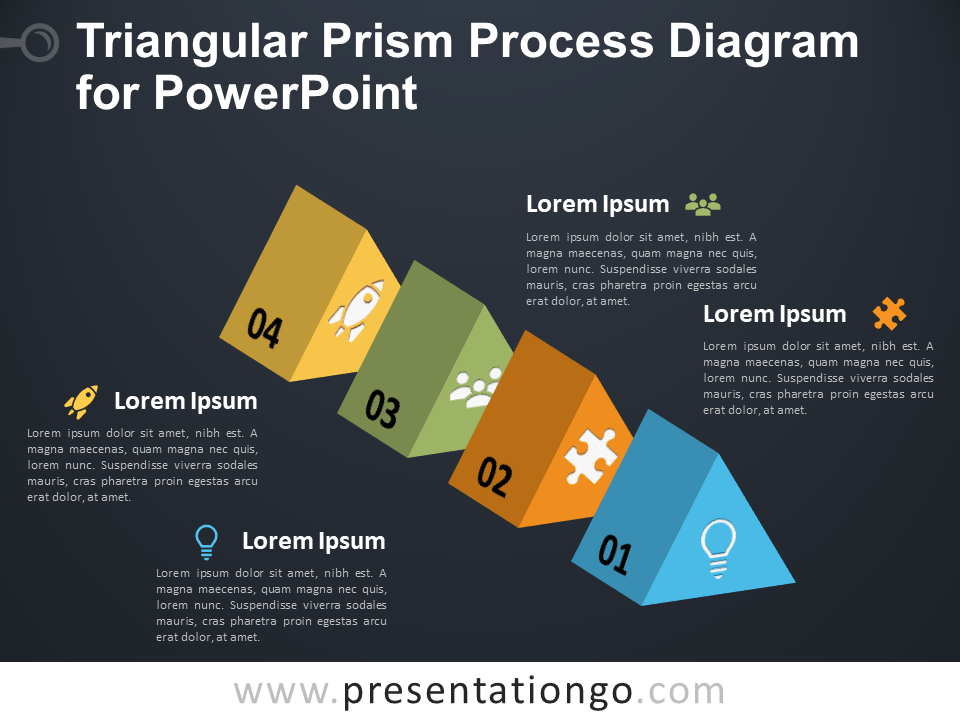 Free Triangular Prism Process Diagram for PowerPoint - Dark Background
