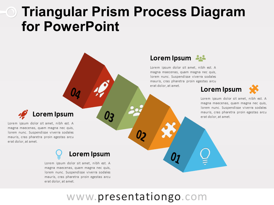 Free Triangular Prism Process Diagram for PowerPoint