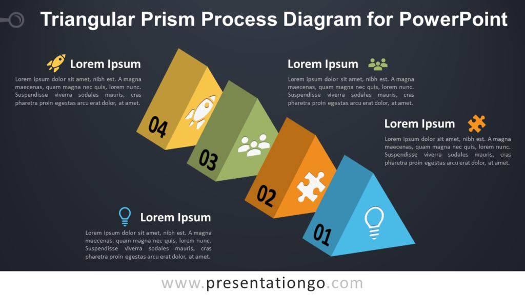 Triangular Prism Process for PowerPoint - Dark Background