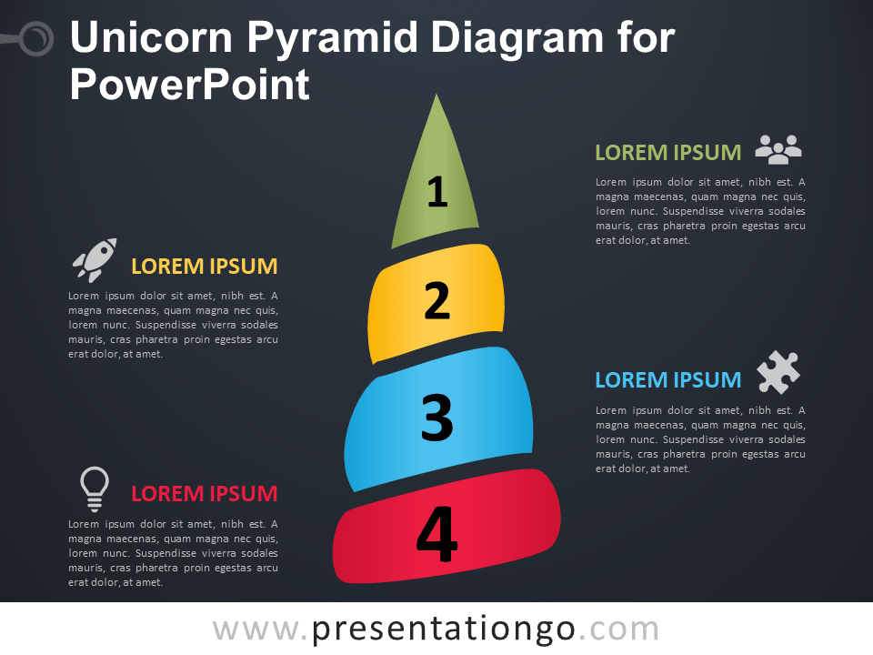 Free Unicorn (Horn) Pyramid for PowerPoint - Dark Backgroun
