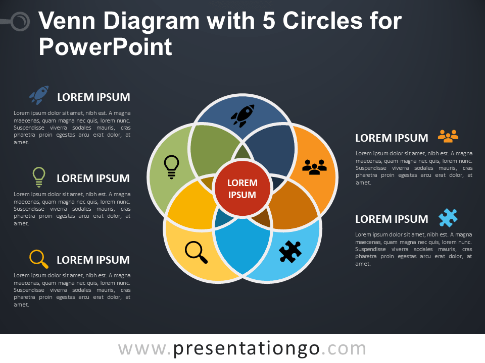 Venn Diagram With 5 Circles For Powerpoint Presentationgo Com