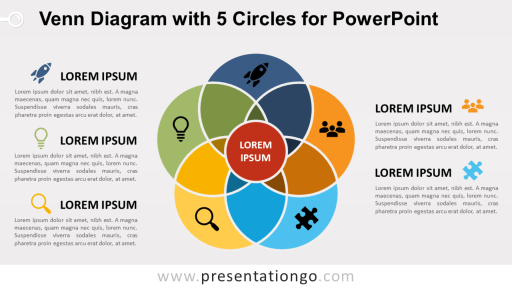 Venn Diagram for PowerPoint with 5 Circles