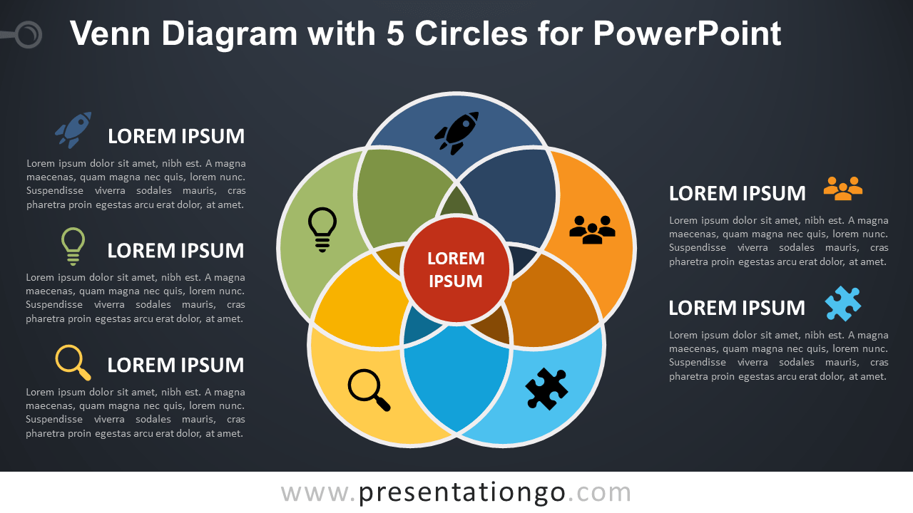 venn diagram with 5 circles for powerpoint ... #5