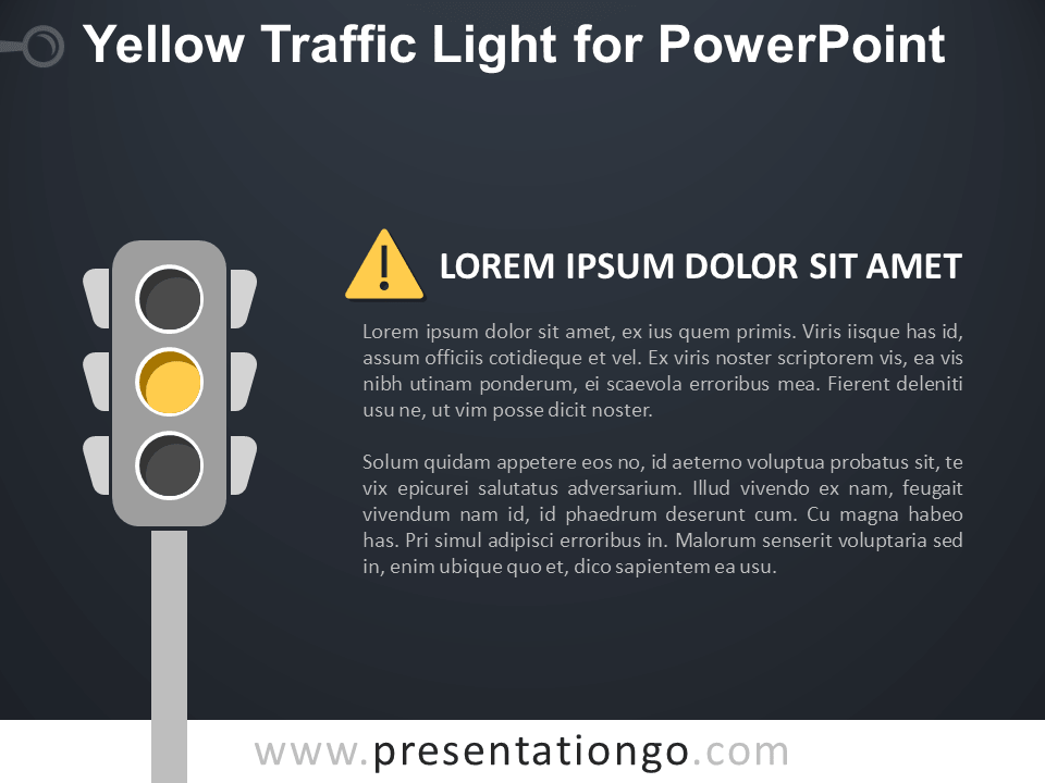Free Yellow Signal Traffic Light for PowerPoint - Dark Background