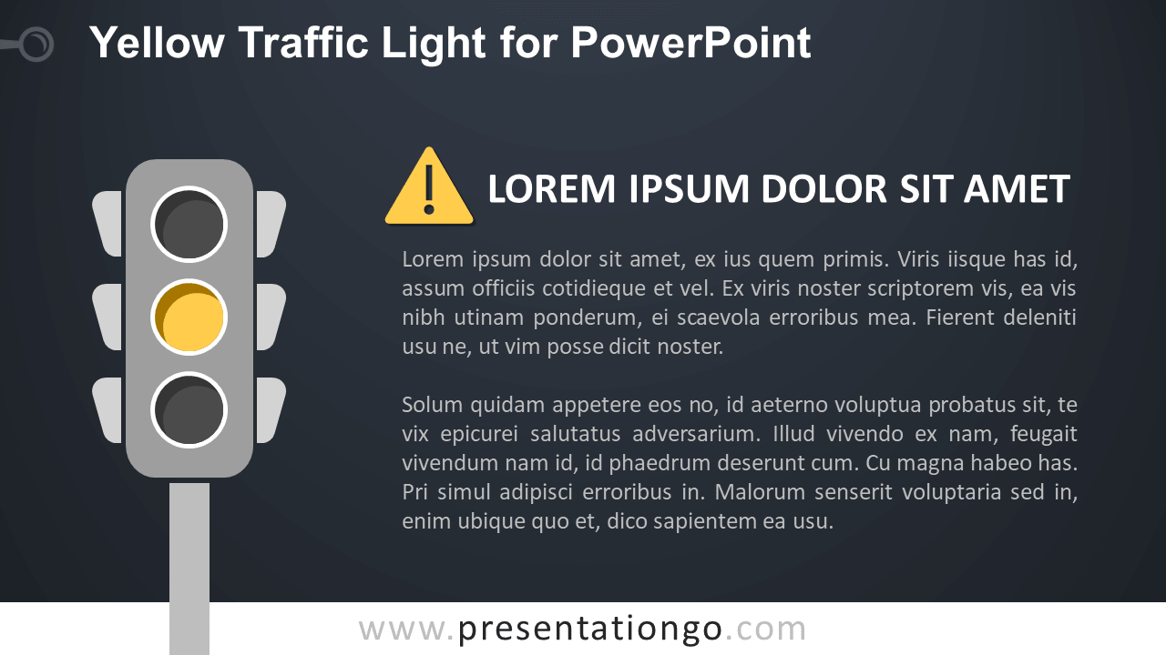 Free Yellow Traffic Light for PowerPoint - Dark Background