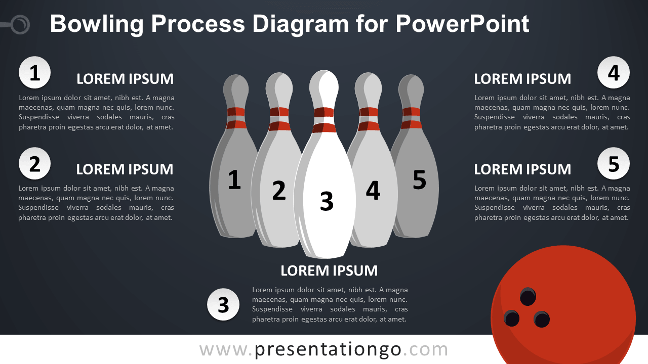 Free Bowling Diagram for PowerPoint - Dark Background