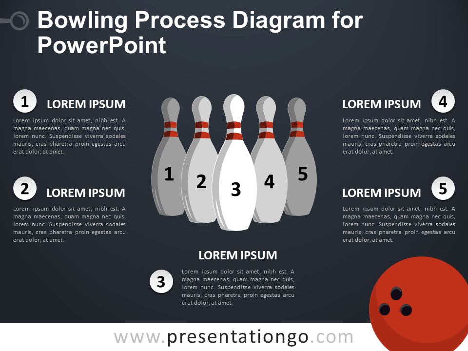 Free Bowling Process Diagram for PowerPoint - Dark Background
