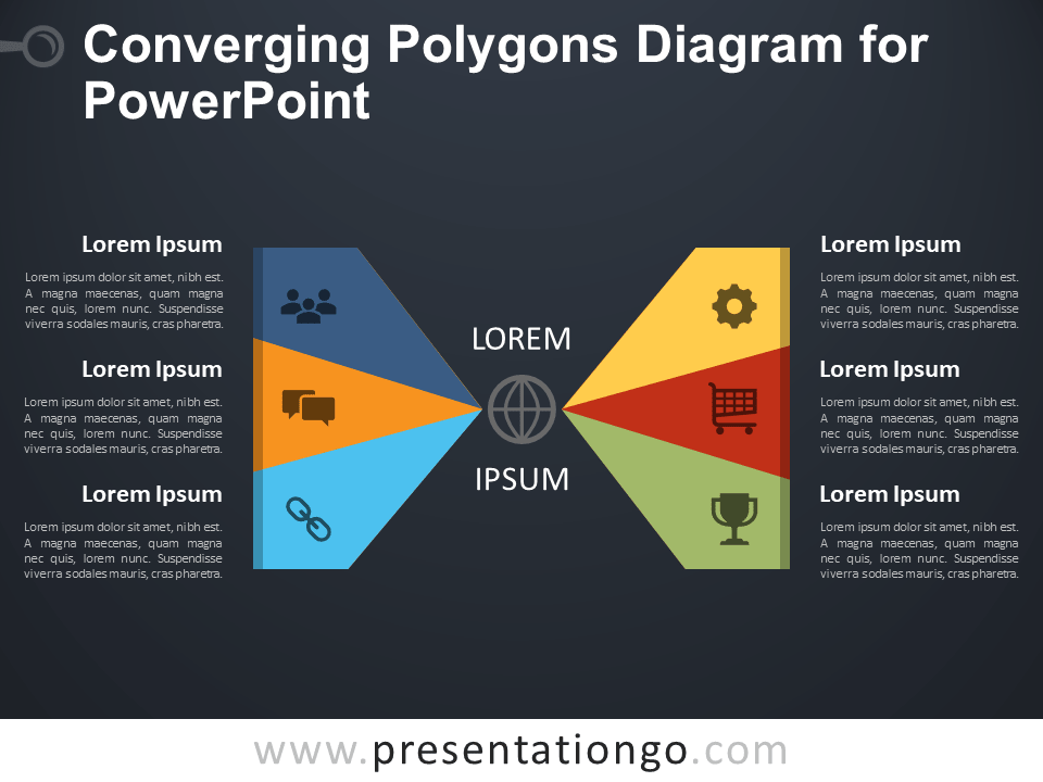 Free Converging Polygons Diagram for PowerPoint - Dark Background
