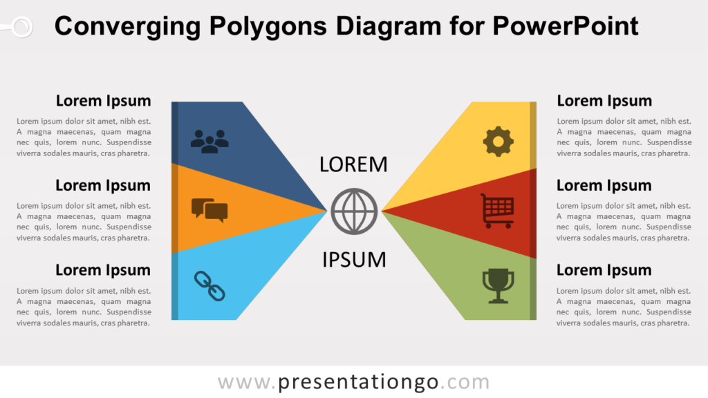 Free Converging Polygons for PowerPoint