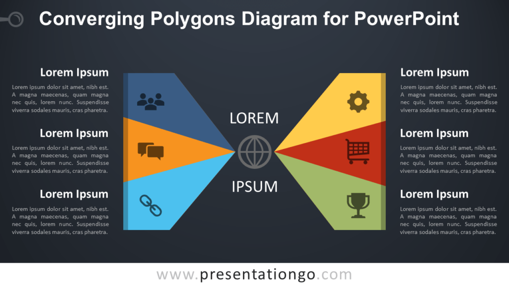 Free Converging Polygons for PowerPoint - Dark Background