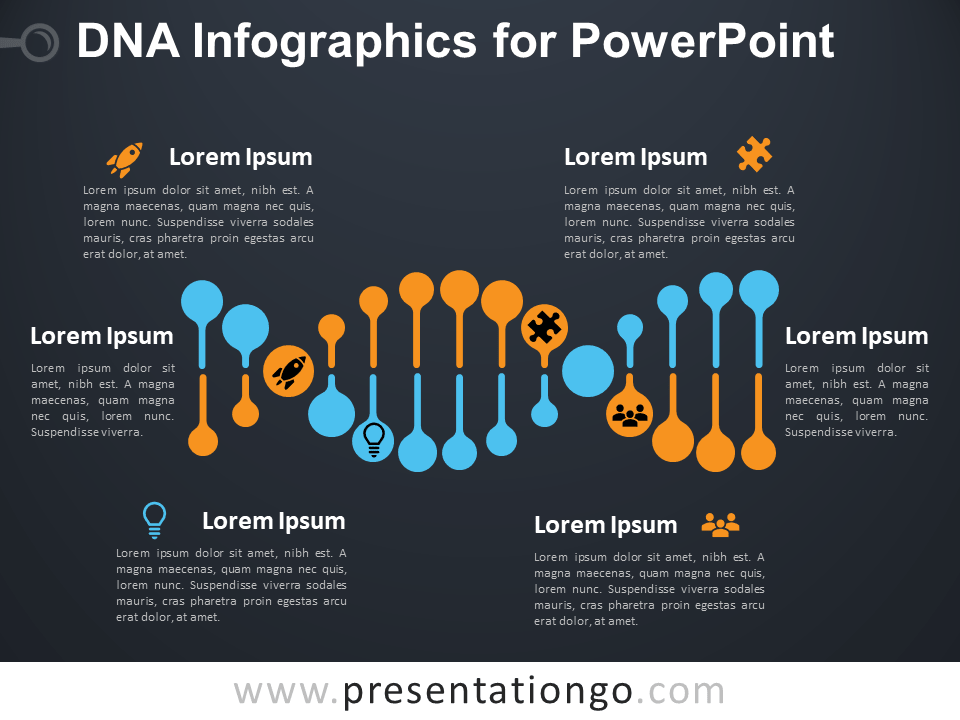Free DNA Infographics for PowerPoint - Dark Background