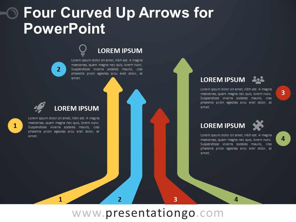Free Four Curved Up Arrows for PowerPoint - Dark Background