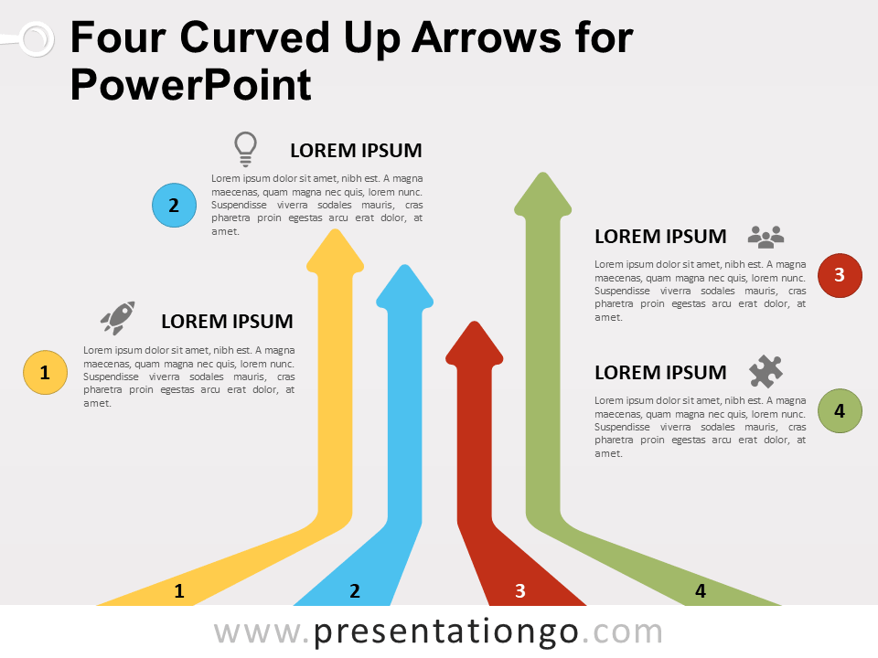 Free Four Curved Up Arrows for PowerPoint
