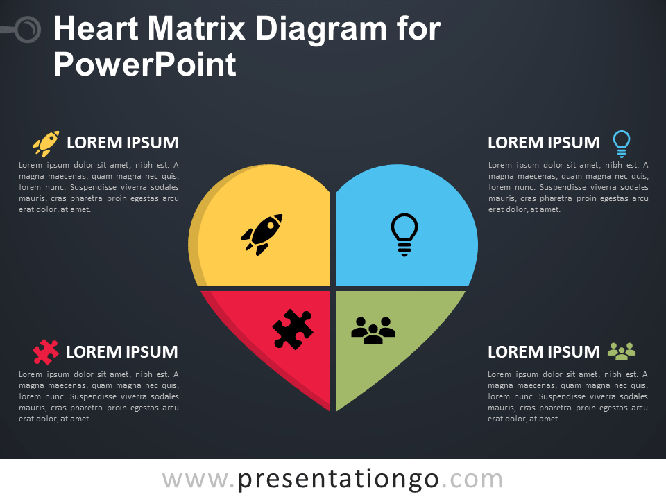Free Heart Matrix Diagram for PowerPoint - Dark Background