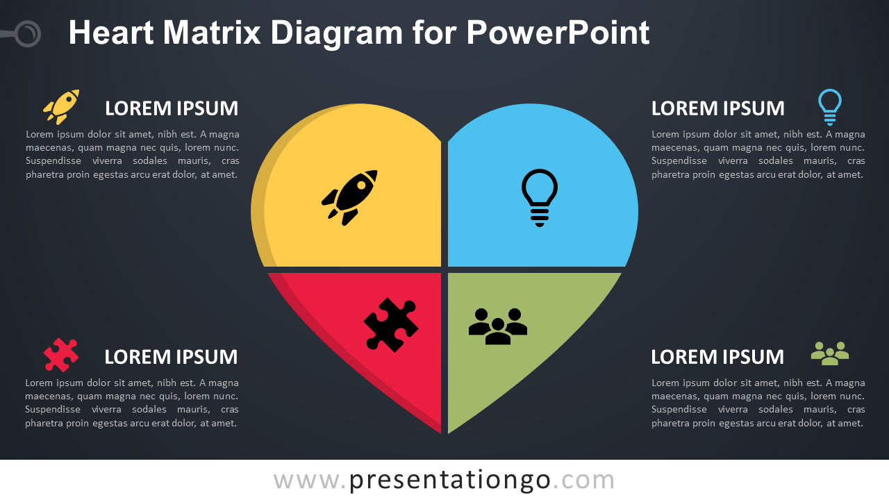 Free Heart Matrix for PowerPoint - Dark Background