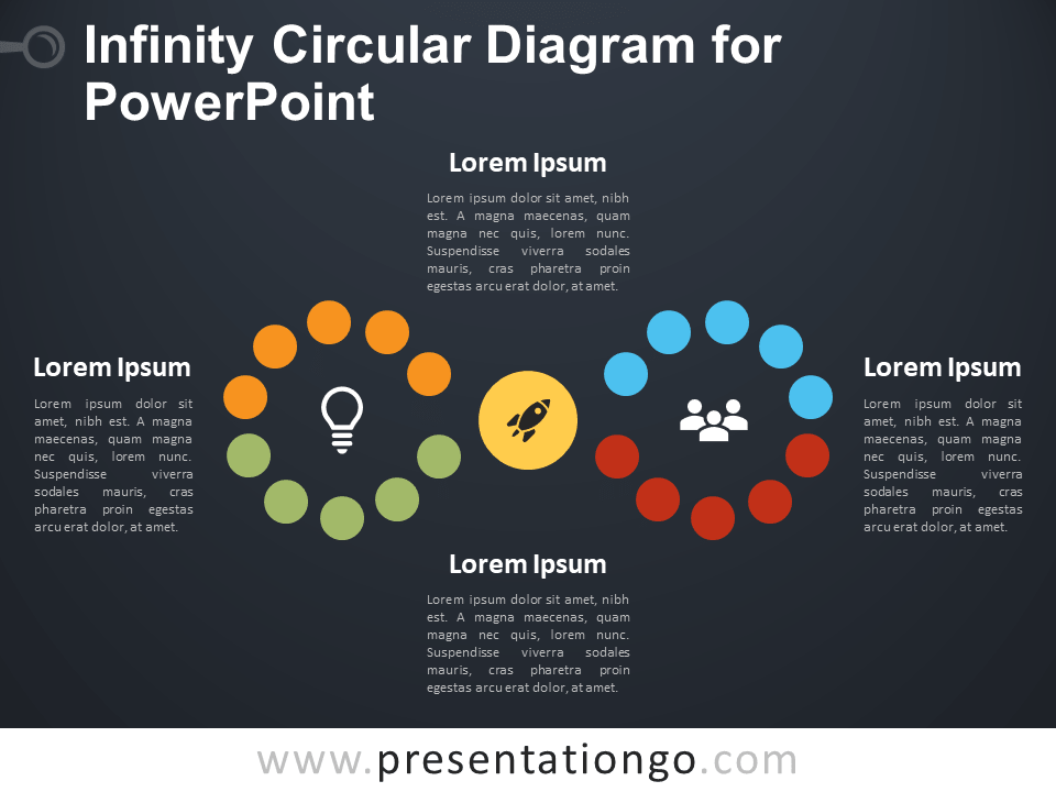 Free Infinity Circular Diagram for PowerPoint - Dark Background