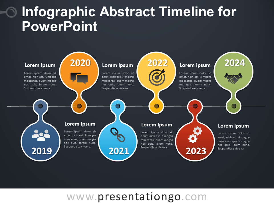 Free Infographic Abstract Timeline for PowerPoint - Dark Background