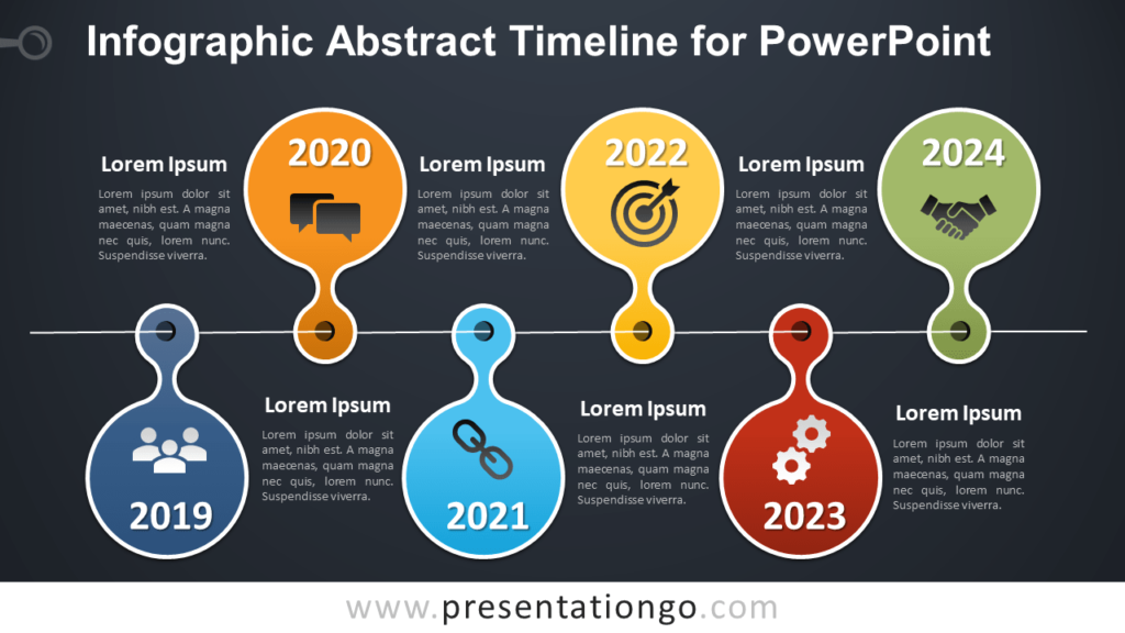 Free Infographic Timeline for PowerPoint - Dark Background