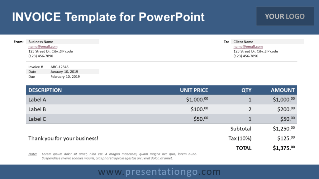 Free Invoice PowerPoint Template