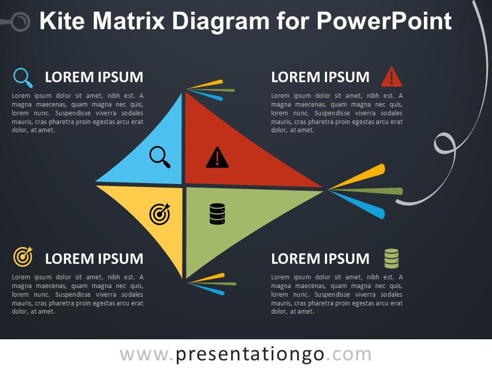 Free Kite Matrix Diagram for PowerPoint - Dark Background