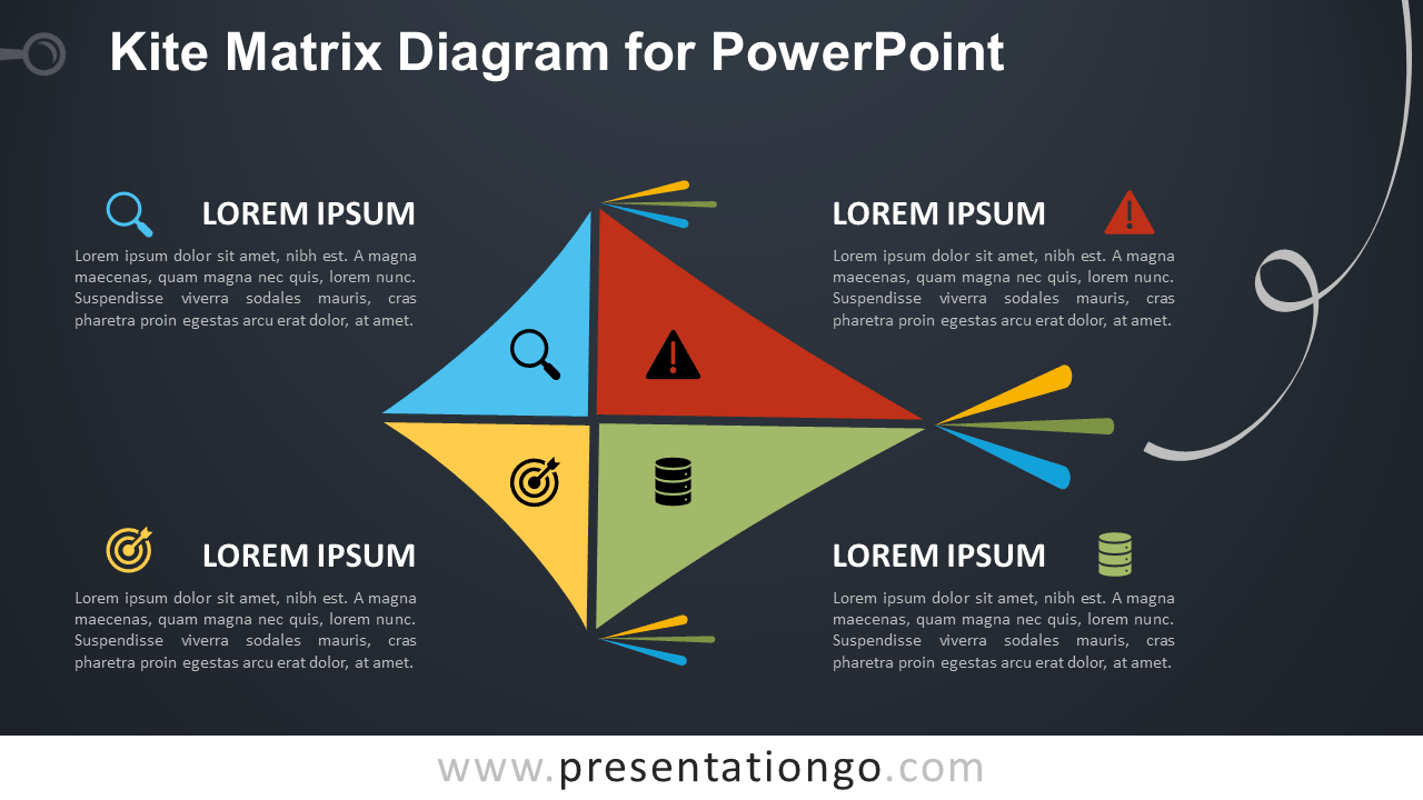 Free Kite Matrix for PowerPoint - Dark Background