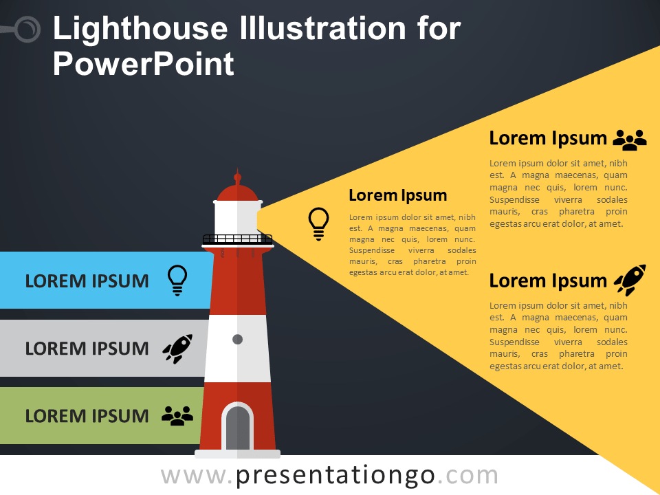 Free Lighthouse Illustration for PowerPoint - Dark Background