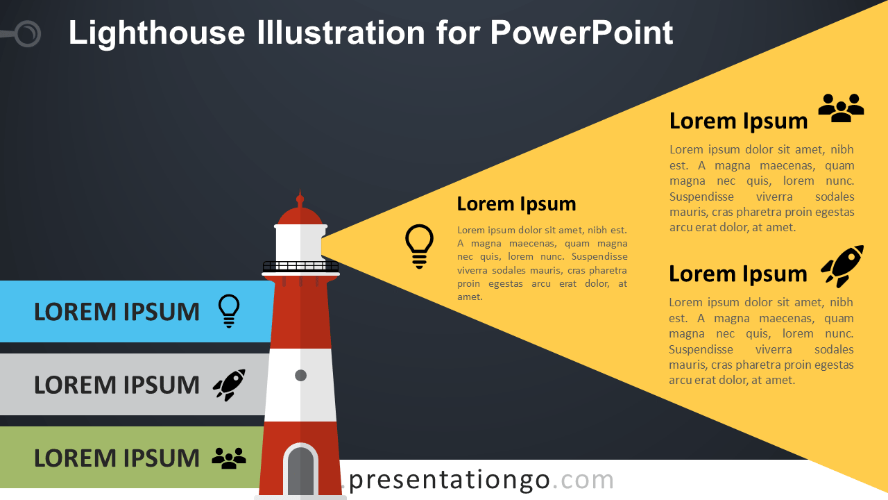 Free Lighthouse for PowerPoint - Dark Background