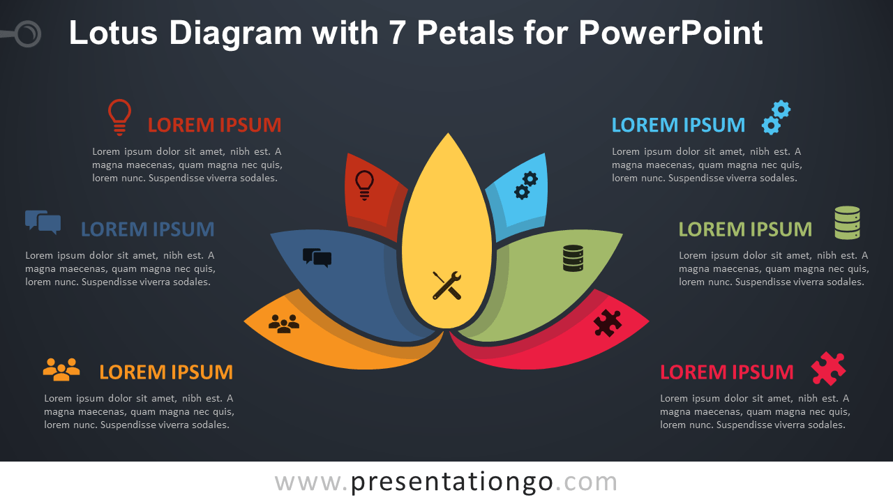 Free Lotus with 7 Petals for PowerPoint - Dark Background