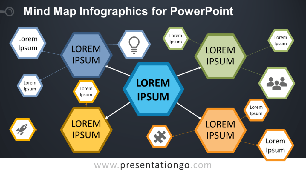 Free Mind Map for PowerPoint - Dark Background