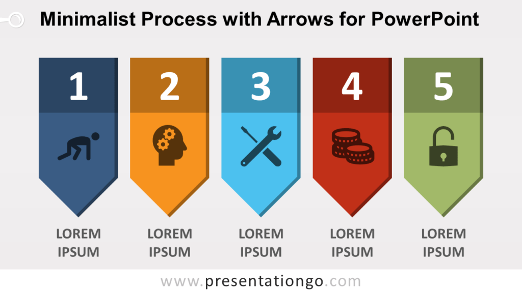 Free Minimalist Process Diagram with Arrows for PowerPoint