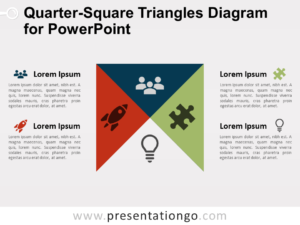 Free Quarter-Square Triangles Diagram for PowerPoint