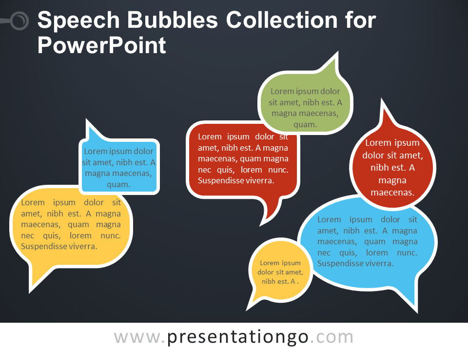 Free Speech Bubbles Collection for PowerPoint - Dark Background