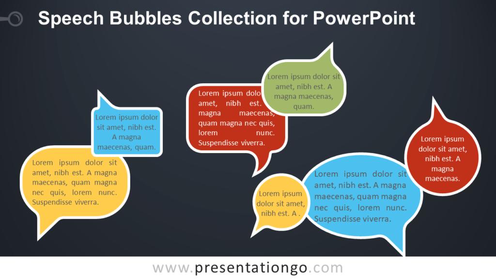 Free Speech Bubbles for PowerPoint - Dark Background