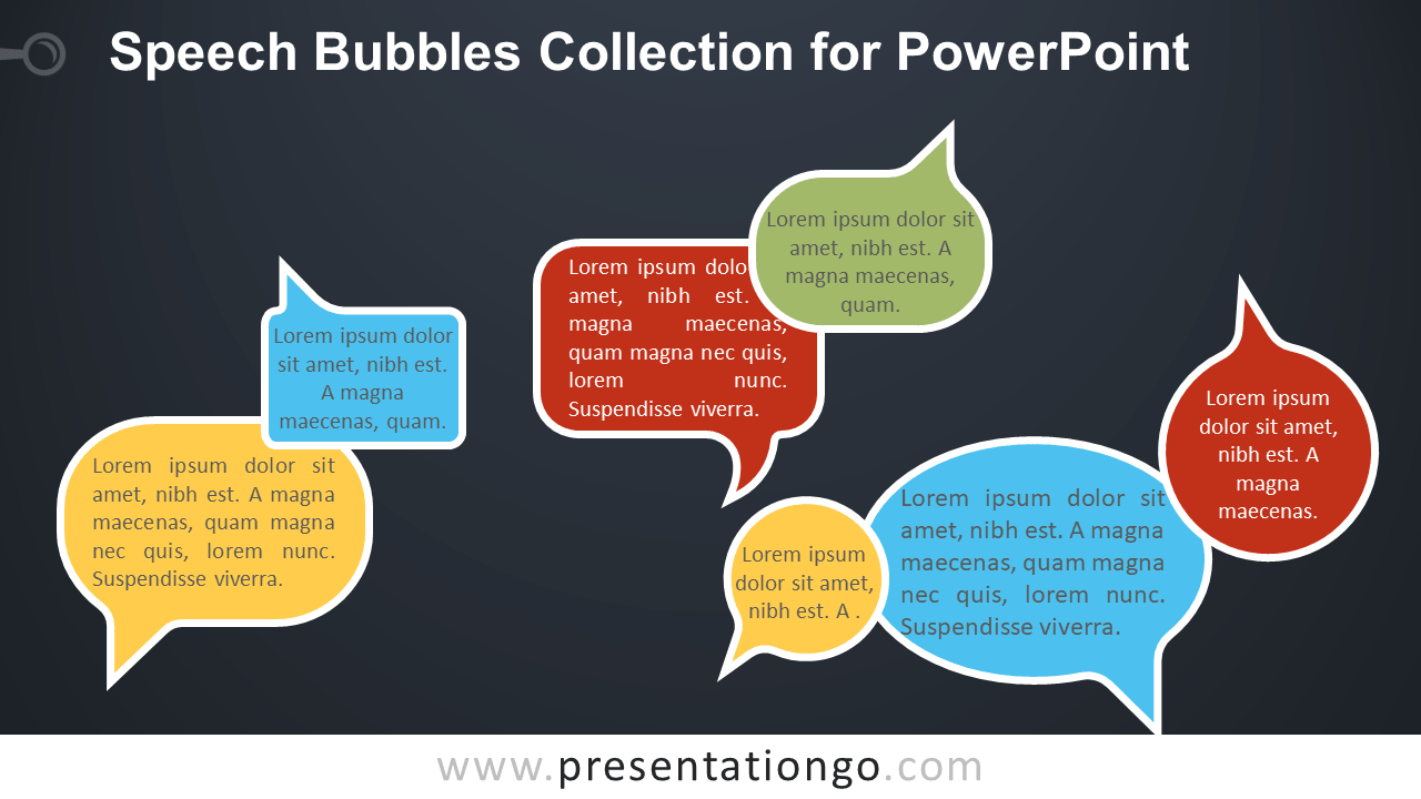 Free Speech Bubbles for PowerPoint - Dark Background