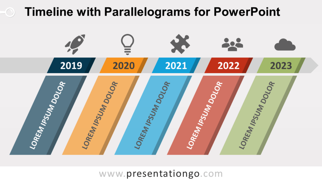 Free Timeline Diagram with Parallelograms for PowerPoint