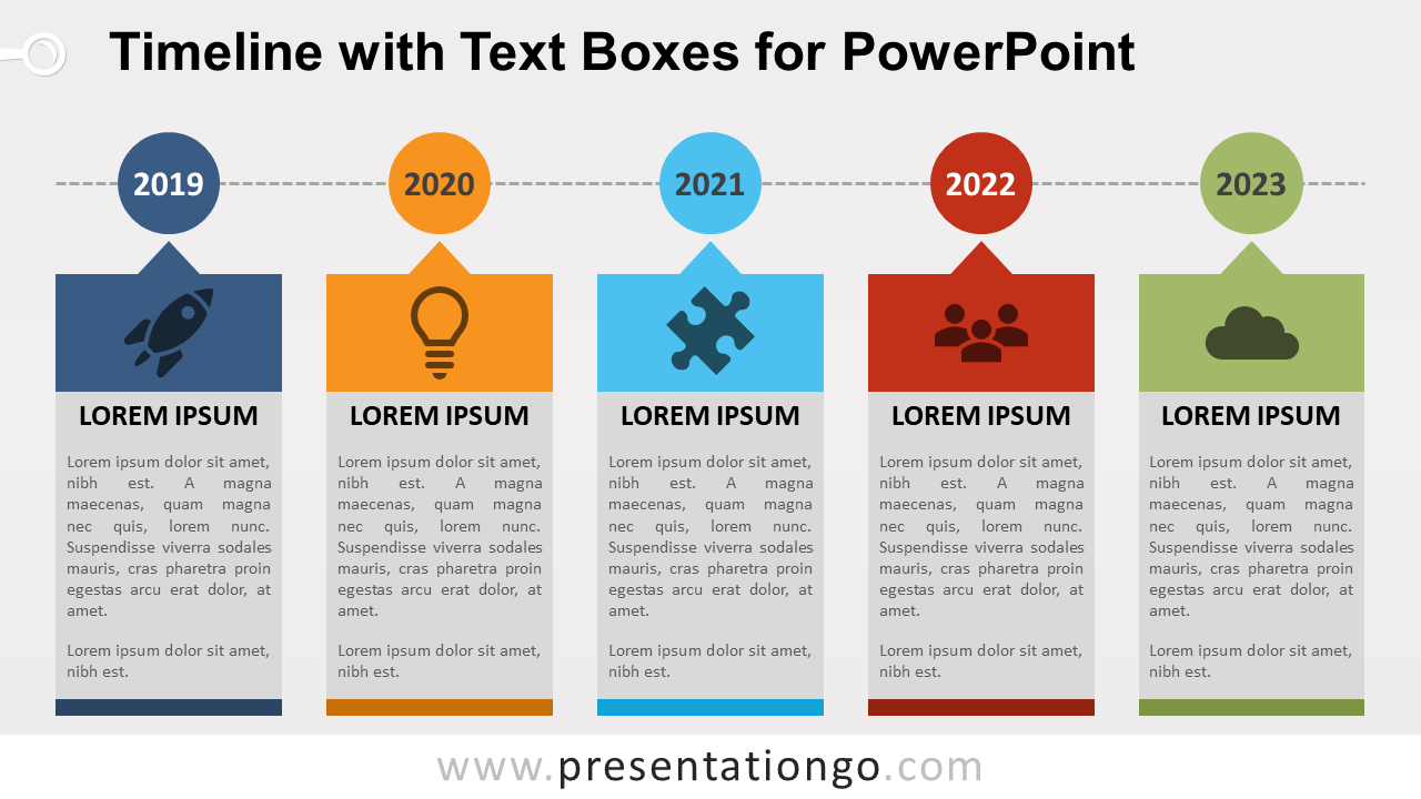Free Timeline Diagram with Text Boxes for PowerPoint