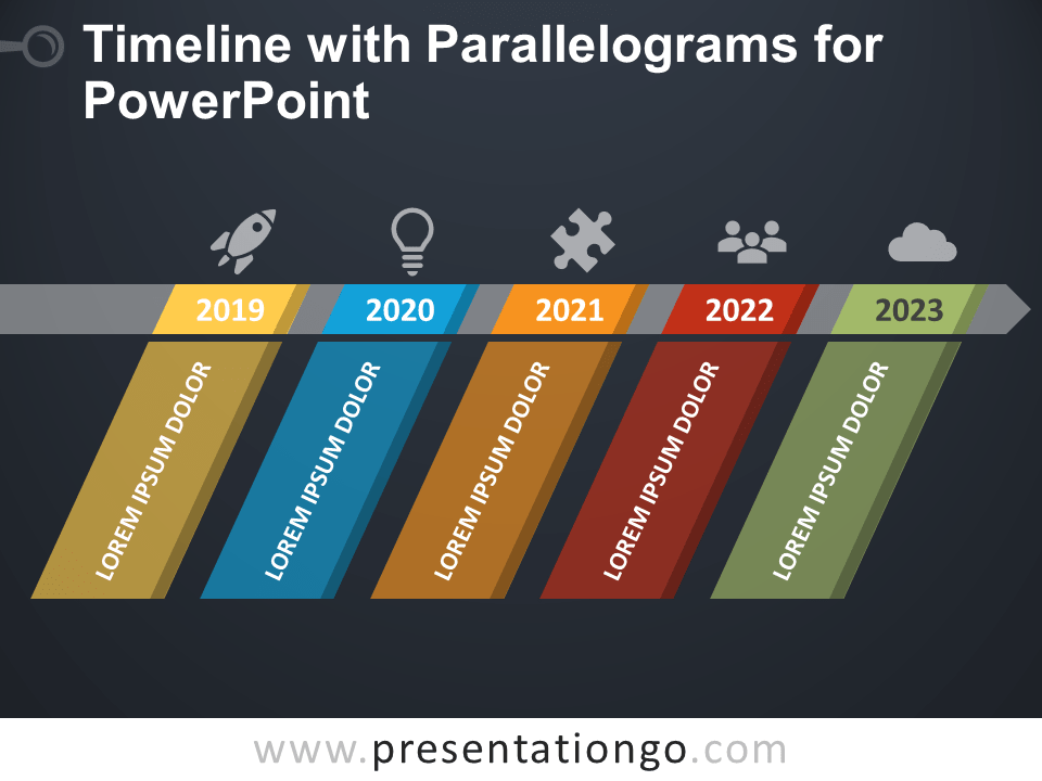 Free Timeline with Parallelograms for PowerPoint - Dark Background