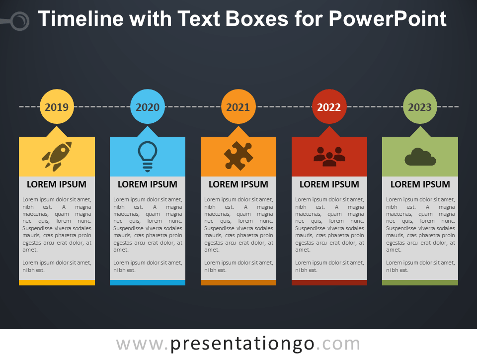 Free Timeline with Text Boxes for PowerPoint - Dark Background