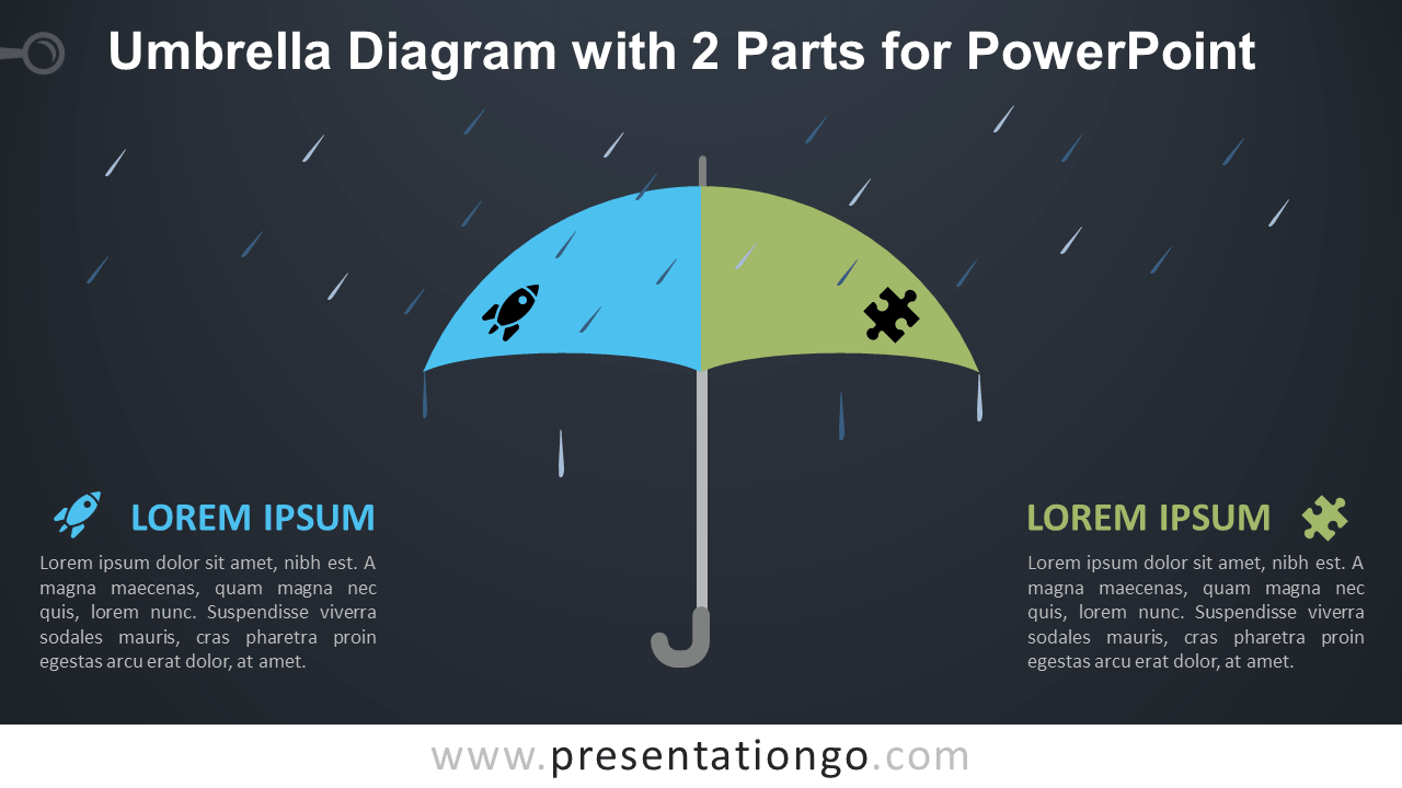 Free Umbrella with 2 Parts for PowerPoint - Dark Background