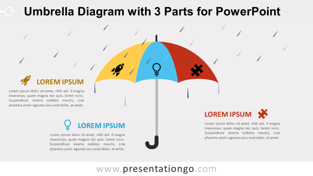 Free Umbrella with 3 Parts for PowerPoint