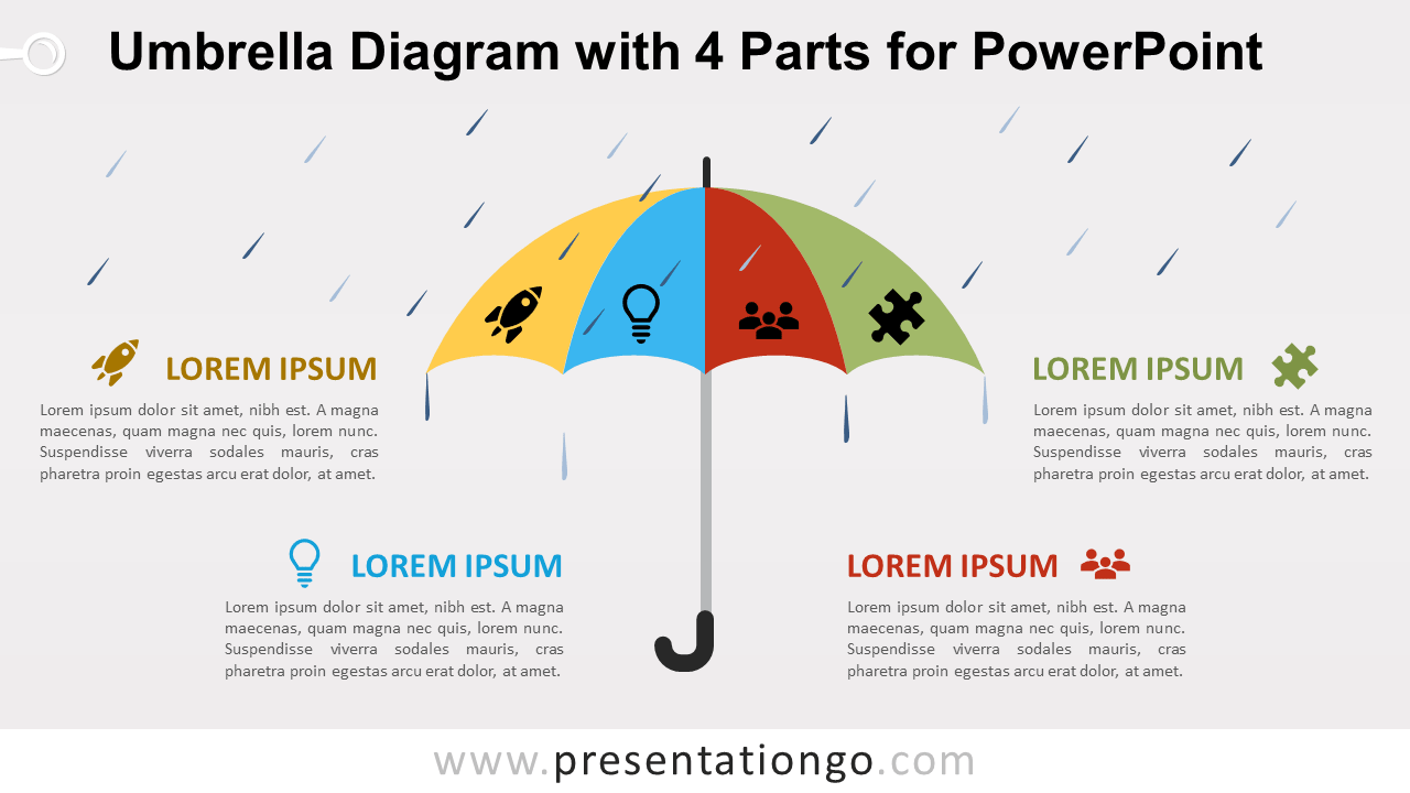 Free Umbrella with 4 Parts for PowerPoint