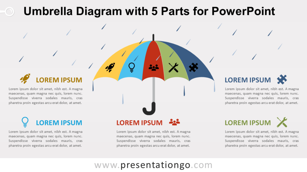 Free Umbrella with 5 Parts for PowerPoint