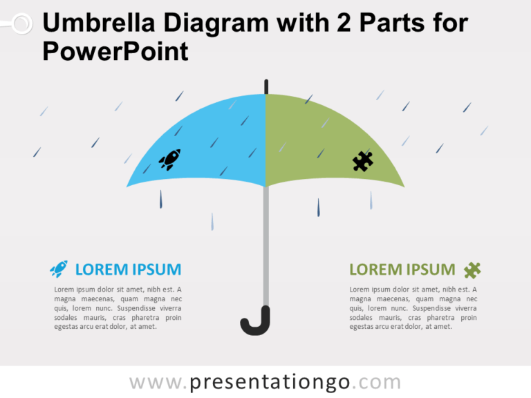 Free Umbrella Diagram with 2 Parts for PowerPoint