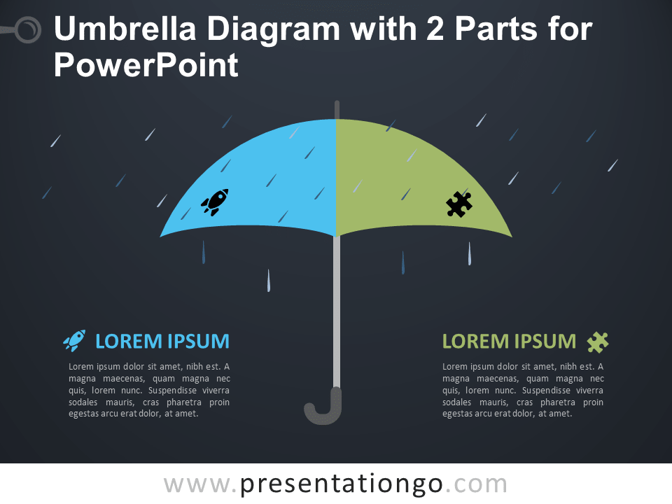 Free Umbrella Diagram with 2 Parts for PowerPoint - Dark Background