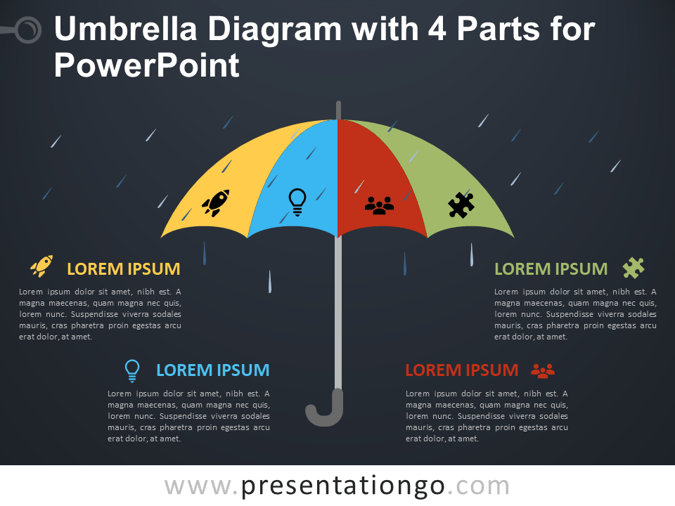 Free Umbrella Diagram with 4 Parts for PowerPoint - Dark Background
