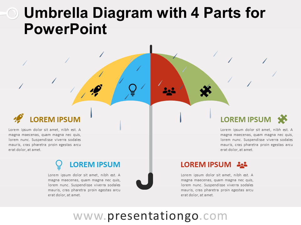 Free Umbrella Diagram with 4 Parts for PowerPoint