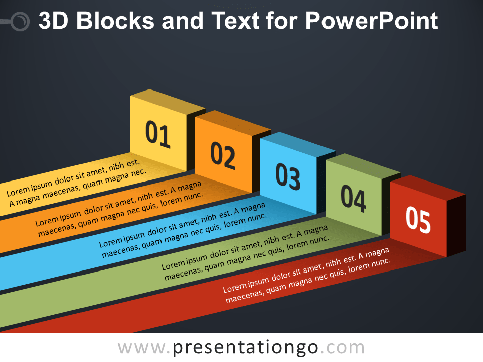 Free 3D Blocks and Text for PowerPoint - Dark Background