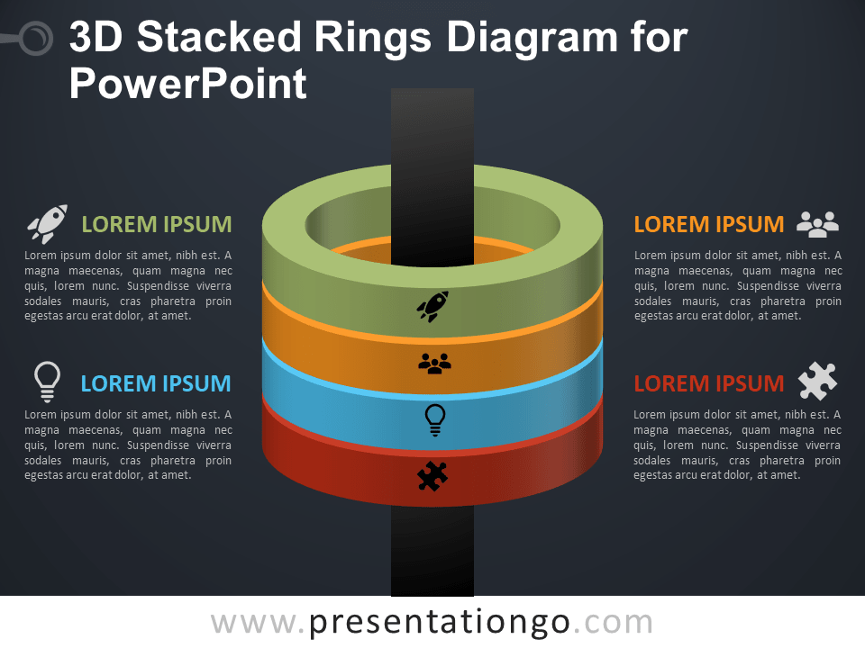 Free 3D Stacked Rings Diagram for PowerPoint - Dark Background